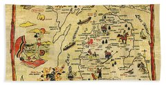 City Map Hand Towels