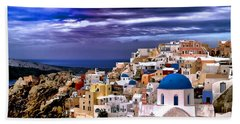 The Greek Isles Santorini Bath Towel by Tom Prendergast