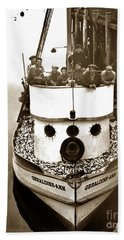 The Happy Crew Of The Fishing Boat  Geraldine- Ann Monterey California 1939 Hand Towel