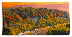 The Hobo Train Up The Mississippi Hand Towel by Randall Branham