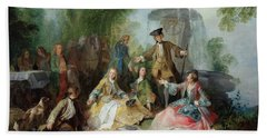 The Hunting Party Meal, C. 1737 Oil On Canvas Bath Towel