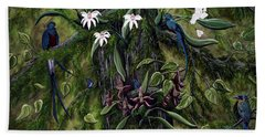 Bath Towel featuring the painting The Jungle Of Guatemala by Jennifer Lake