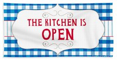 The Kitchen Is Open Hand Towel