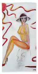 The Lady In Red High Heels Bath Towel by Tom Conway