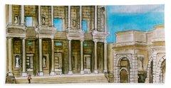 The Library At Ephesus Turkey Bath Towel