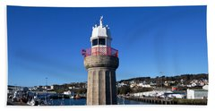 The Lighthouse And Fishing Harbour Bath Towel