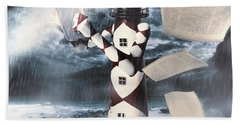 The Lighthouse And The Fishermans Tale Hand Towel