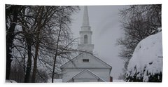 Hand Towel featuring the photograph The Little White Church by Dora Sofia Caputo Photographic Art and Design