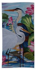 The Lotus Pond Hand Embroidery Bath Towel
