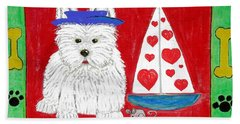 Hand Towel featuring the painting The Love Boat by Diane Pape