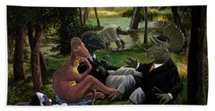 The Luncheon On The Grass With Dinosaurs Bath Towel