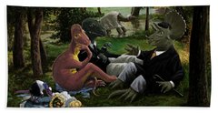 The Luncheon On The Grass With Dinosaurs Hand Towel