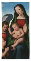 The Madonna And Child With The Young Saint John The Baptist And An Angel  Hand Towel