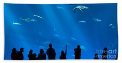 The Magnificent Open Sea Exhibit At The Monterey Bay Aquarium. Bath Towel