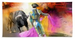 The Man Who Fights The Bull Bath Towel by Miki De Goodaboom