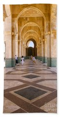 Bath Towel featuring the photograph The Massive Colonnades At The Hassan II Mosque Sour Jdid Casablanca Morocco by Ralph A  Ledergerber-Photography