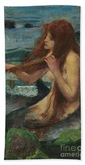 The Mermaid Hand Towel by John William Waterhouse