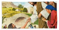 The Miracles Of Jesus  Making The Lame Man Walk Hand Towel