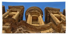 Bath Towel featuring the photograph The Monastery In Petra by David Gleeson