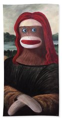 Bath Towel featuring the painting The Monkey Lisa by Randol Burns
