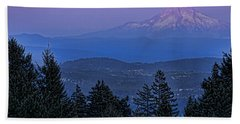 The Moon Beside Mt. Hood Hand Towel by Don Schwartz