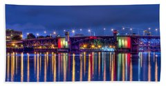 Bath Towel featuring the photograph Morrison Bridge Reflections by Thom Zehrfeld