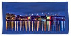 Morrison Bridge Reflections Portland Bath Towel