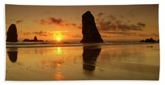 The Needles At Haystack - Cannon Beach Sunset  Hand Towel