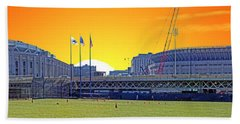 The Old And New Yankee Stadiums Side By Side At Sunset Hand Towel