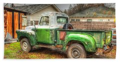 Hand Towel featuring the photograph The Old Green Truck by Jim Thompson