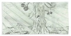 Bath Towel featuring the drawing The Old Tree In Spring Light  - Sketch by Felicia Tica