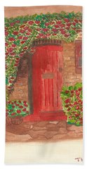 Hand Towel featuring the painting The Orange Door by Tracey Williams