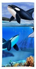 The Orca Family Bath Towel by Glenn Holbrook