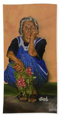 The Parga Flower Seller Bath Towel