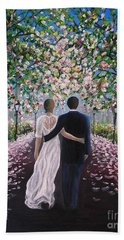 Bath Towel featuring the painting The Path Of Love  by Vesna Martinjak