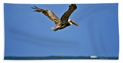 Hand Towel featuring the photograph The Pelican And The Sea by DigiArt Diaries by Vicky B Fuller