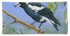 The Pied Piper - Australian Magpie Bath Towel