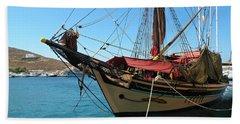 The Pirate Ship  Bath Towel by Micki Findlay