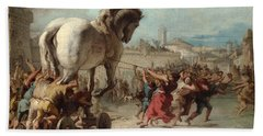 The Procession Of The Trojan Horse Into Troy Hand Towel