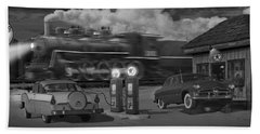 The Pumps - Panoramic Bath Towel by Mike McGlothlen