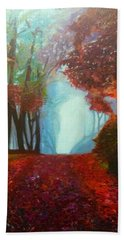Bath Towel featuring the painting The Red Cathedral - A Journey Of Peace And Serenity by Belinda Low