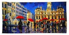 The Red Umbrellas Of Lyon Bath Towel