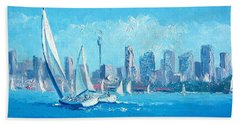 The Regatta Sydney Habour By Jan Matson Hand Towel by Jan Matson