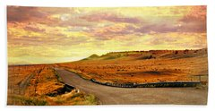 Hand Towel featuring the photograph The Road Less Trraveled Sunset by Marty Koch