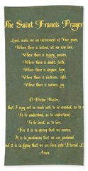 The Saint Francis Prayer In Gold Lettering On Green Leather. Bath Towel