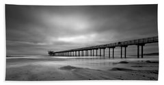 The Scripps Pier - Black And White Hand Towel