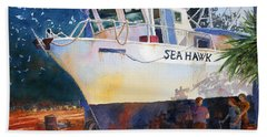 Hand Towel featuring the painting The Sea Hawk In Drydock by Roger Rockefeller