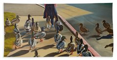 Hand Towel featuring the painting The Sidewalk Religion by Thu Nguyen