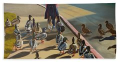 Bath Towel featuring the painting The Sidewalk Religion by Thu Nguyen