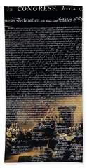 The Signing Of The United States Declaration Of Independence V2 Bath Towel
